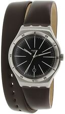 Swatch Men's Irony YWS409 Brown Leather Swiss Quartz Watch
