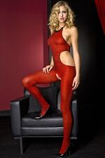 MUSIC LEGS RED ZEBRA PRINT HALTER NECK CROTCHLESS BODYSTOCKING ONE SIZE