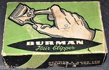 Vintage BURMAN Hair Clippers original Box 1963 Receipt