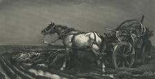 ANTIQUE MOURNING SORROW FARMER FURROW HORSE DEATH WAGON ABANDONED ART PRINT