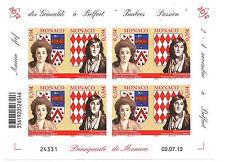 MONACO N° 2847/8  Non dentelé  Prince Honoré IV en mini feuille de 4 très rare !