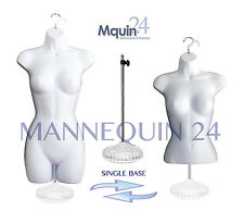 SET OF 2 FEMALE MANNEQUINS (HIP & WAIST LONG) WHITE + 1 ACRYLIC STAND +2 HANGERS