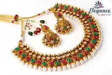 SOUTH INDIAN ONE GRAM GOLD PEARL NECKLACE JHUMKA EARRING,BRIDAL JEWELRY SET