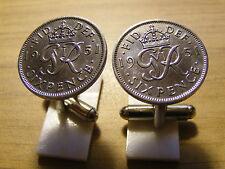 1951 Seis Peniques Moneda Gemelos Espalda En Color Plata Gran Regalo - 65th