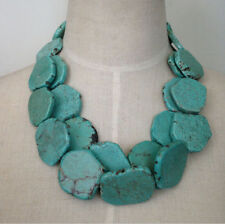 Two layers turquoise necklace irregular stone necklace bib statement necklace