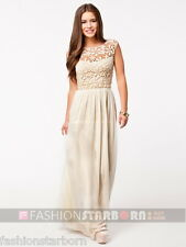 fSb Imported Women Beige O-Neck Solid Chiffon Floor-Length L Size Maxi Dress