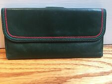 Vintage Gucci Green Leather Folding Checkbook Cover and Currency Holder