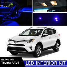 8PCS Blue Interior LED Light for 2006 - 2016 Toyota RAV4 White for License Plate