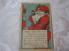 CHRISTMAS 1908 ANTIQUE POSTCARD WITH SANTA ON PHONE    T*