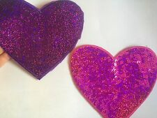2 large heart sequin applique patch motif hot fix iron sew on embellishment UK