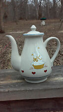 porcelain teapot with country geese and heart pattern