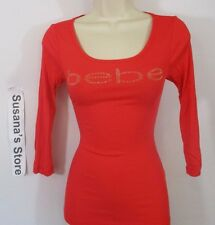 NWT BEBE Logo 3/4 Sleeve Tee SIZE XS Scoopneck, Gleaming front stud bebe logo!!