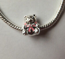 FREE bracelet with 925 SILVER 'TEDDY BEAR' BABY GIRL CHARM BEAD With PINK BOW