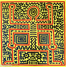 Keith HARING Untitled 1983 Outline Figure Man Pop Art Poster 35 x 35