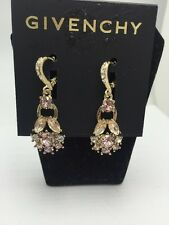 $52 Givenchy Gold Tone Multi Crystal Drop Earrings GV 800