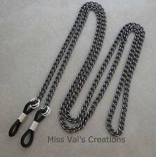 gunmetal eyeglass chain holder unisex men