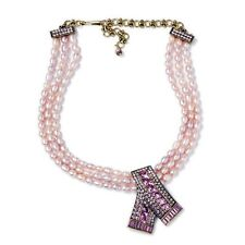 Heidi Daus Keep Sparkling Pink Pearl Crystal Drop Necklace
