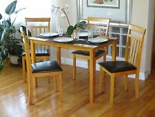 Dining Kitchen 5 PC SET Rectangular Table 4 Warm Chairs Breakfast Maple Wood