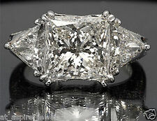 5.50 CT PRINCESS CUT TRILLION ENGAGEMENT RING REAL SOLID 14KT WHITE GOLD