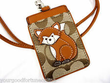 NWT Coach Lanyard/ID Holder Signature Jacquard/Leather Fox Badge/Card 62019