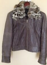 Guess 100% Genuine Leather Brown Jacket,  with Fur Collar.
