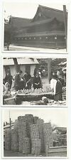 photographies-Japon. 3 Photographes d'un Market Scènes, Location Inconnu