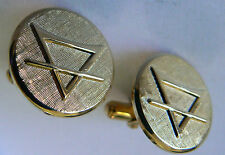 GOLD TONE METAL SYMBOL FOR PLANET EARTH  CUFF LINKS
