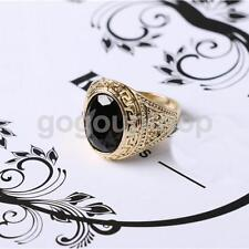 18mm Men Gold Plated Black Gemstone Ring for Men party Gifts Vintage Ring