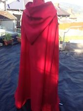 Red hooded cloak with Red lined hood more colours available