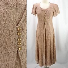 Vintage 90s Nude Pink Sheer ALL LACE Romantic Victorian Sheath Dress M Grunge