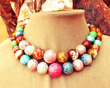 RAINBOW MAGNESITE Gems PINK ORANGE Olive GREEN Peach BROWN Stone Double NECKLACE