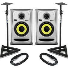 KRK Rokit RP4 G3 - Silver (Pair) with Stands & Cables