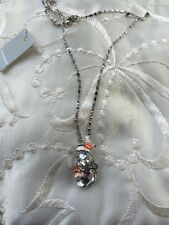 Diamante Glass Stone Butterfly Ball White Orange Necklace