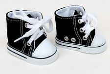 """Lovvbugg! Black High Top Tops Sneakers for 18"""" American Girl Doll Clothes Shoes"""