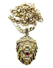 """ICED OUT BIG SEAN LION FACE HIP HOP PENDANT  5mm&24""""FIGARO CHAIN NECKLACE MSP312"""