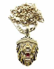 "ICED OUT BIG SEAN LION FACE HIP HOP PENDANT  5mm&24""FIGARO CHAIN NECKLACE MSP312"