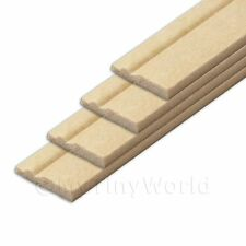4 X Dolls House Miniature 15mm Wood Skirting Board (style 2)
