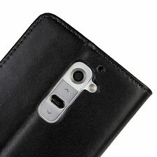 Black Genuine Leather Wallet Case Cover for LG G2