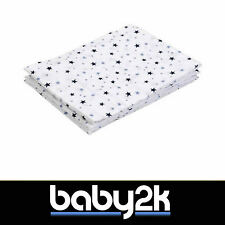 3 Pack 100% Cotton Baby Muslin Squares Face Cloth Burp 70x70cm TINY BLUE STARS
