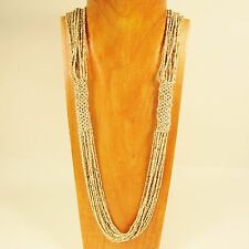 """34"""" Long MultiStrand Handmade Natural Color Seed Bead Woven Statement Necklace"""