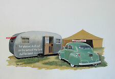 Vintage Spartanette Travel Trailer Camper Classic Dodge Sedan Christian RV ART
