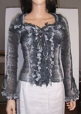 BLANC NATURE BLACK-GRAY-WHITE SNAKE SKIN PRINT RUFFLED LONG-SLEEVED BLOUSE 8-10