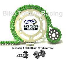 Kawasaki ZX10R C1-C2 04-05 AFAM Green Chain & Sprocket Kit + Rivet Tool