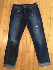 American Eagle Tom Girl Distressed Jeans Size 4 Fits 8 To 10 Dark Wash