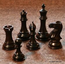 "GENUINE EBONY CHESS MEN BOLD STALLION REFINED STAUNTON SET K=4.2"" (712)"