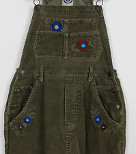 VTG TEENAGE GIRLS TEENS JUNIOR KHAKI CORDUROY DUNGAREES URBAN FESTIVAL GRUNGE