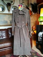 Vintage 70s Baccarat Suede Leather Full Length Double Breasted Trench Coat.Small