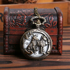 Bronze Wolf Hollow Quartz Man Pocket Watch Dog Fob Watches Necklace Pendant