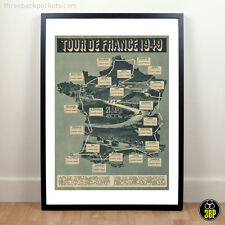 Grand tour de france 1949 grand tour vintage cyclisme route map velo poster print