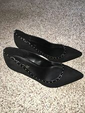 Catherines Shoes Black Circle Stud Heel Pumps 12W Size 12 Wide Womens NIB